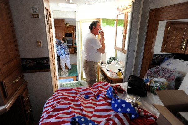 Don Young spends about an hour transforming into Bo-Bo in his camper outside of the Bangor Auditorium for the 2013 Anah Shrine Circus. Don, who dresses as an Auguste Clown, which is the buffoon or fool, has been an Anah Shrine Clown since 1986.