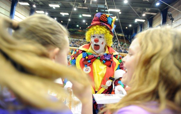 Gumpy signs autographs before a showing of the 2013 Anah Shrine Circus at the Bangor Auditorium. The Anah Shrine Clowns truly are the face of the circus, bringing out smiles and laughter of circus attendees and always sought out by kids for balloons and autographs. Michael Robshaw has been Gumpy since 1998.