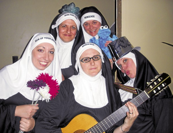 "Brianne Beck, Tina Burns, Kari Stowe, Heather Astbury-Libby and Elena DeSiervo Burns get into the act for the Winterport Open Stage production of ""Nunsense!,"" a musical comedy that will be staged at 7:30 p.m. Friday and Saturday, April 19, 20, 26 and 27, and at 3 p.m. Sunday, April 21 and 28, at Samuel L. Wagner Middle School, Mountainview Drive, in Winterport.  The zany musical will feature star turns, tap and ballet dancing, an audience quiz and comic surprises suitable for those of all ages. Admission is $10, $8 students and seniors, at the door."