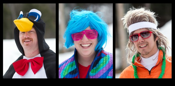 Participants in the annual pond skimming competition were encouraged to wear outlandish costumes, Sunday, April 7, 2013, at the Sunday River Ski Resort in Newry, Maine.