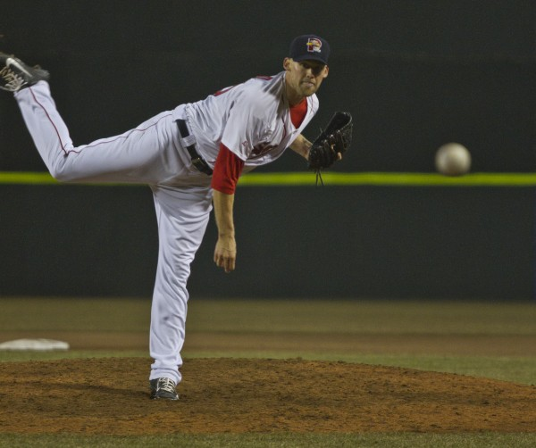 Daniel Bard of the Portland Sea Dogs delivers a pitch during Thursday night's game against Trenton at Hadlock Field in Portland.