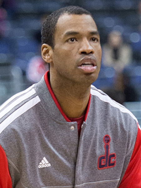 Washington Wizards center Jason Collins (98) warms up before their game against the New Orleans Hornets at the Verizon Center in Washington, D.C., March 15, 2013. Collins has become the first male professional athlete in the major four American sports leagues to come out as gay.