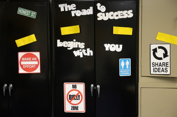 Messages are seen in a classroom at DC Prep Edgewood Middle Campus on March 5, 2013, in Washington, D.C.  The school stresses good behavior in its students.