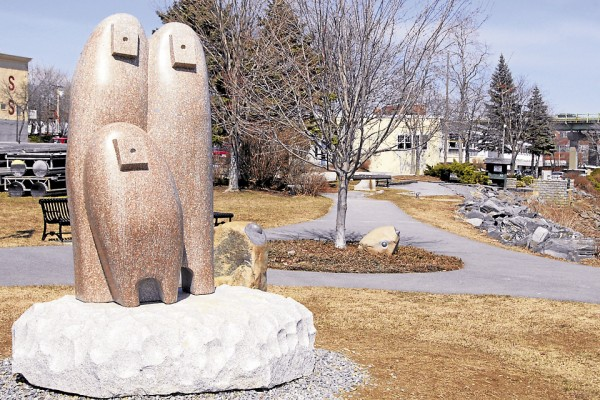 "Created by Japanese artist Koichi Ogino, the granite sculpture ""Camel Country"" reflects the warm spring sun on April 5. The sculpture was carved during the 2012 Schoodic International Sculpture Symposium."