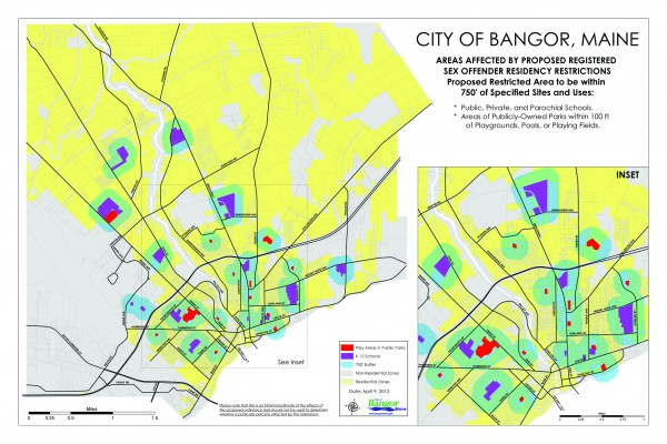 A map of Bangor areas affected by proposed registered sex offender residency restrictions. For a larger version, visit http://bdn.to/sexmap.