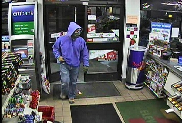 A surveillance image shows the suspect in an armed robbery that took place at the 7-Eleven in Springvale on Feb. 5, 2013.
