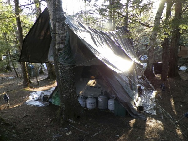 A Maine State Police photo shows the makeshift camp site of Christopher Knight in Rome, Maine, taken following his arrest on April 4, 2013.