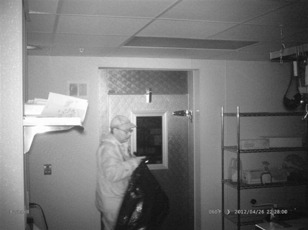 Christopher Knight is shown in this 2012 surveillance photo from a private dwelling break-in released by Maine State Police on April 10, 2013.