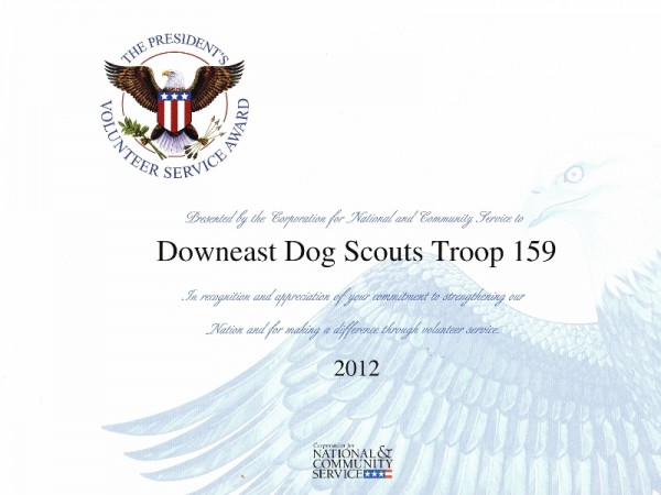 Downeast Dog Scouts Volunteer Award