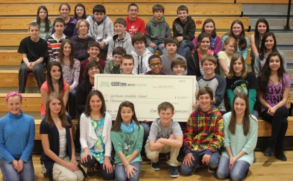 Sarah Rubin's class of 7th graders from Gorham Middle School.   They are the 1st place winner of the statewide Zero Waste Challenge.  They're holding their $2000 prize check to help implement their winning waste reduction plan.