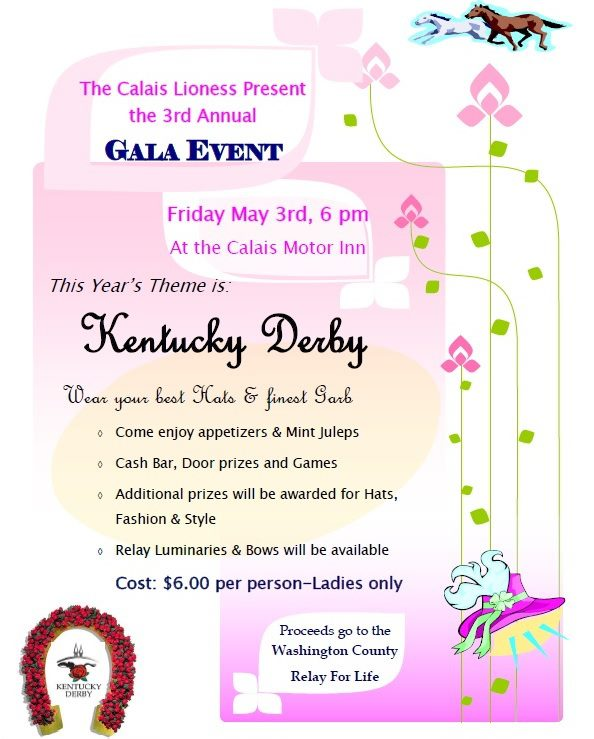 Ladies, don't miss the fun as the Calais Lioness raise money for the Relay for Life!