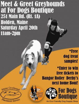 Poster for Greyhound-Roller Derby Meet & Greet