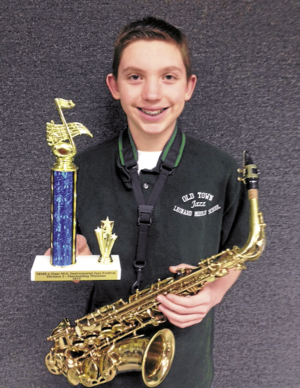 Jacob Ketch, alto saxophone player and eighth-grader at Leonard Middle School in Old Town, was awarded an Outstanding Musician award at the State Jazz Festival in Westbrook on March 23. Jacob was one of only five students in his division to be recognized. The Leonard Middle School Jazz Ensemble placed second in its division and received a gold award for musical excellence.