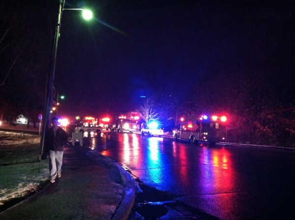 Orono and Old Town fire department personnel respond to a report of a fire at the Phi Kappa Sigma fraternity on College Avenue in Orono on Friday evening.