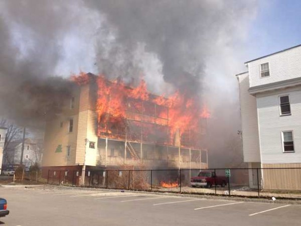 Fire is consuming an apartment building at 111 Blake Street in Lewiston Monday afternoon.