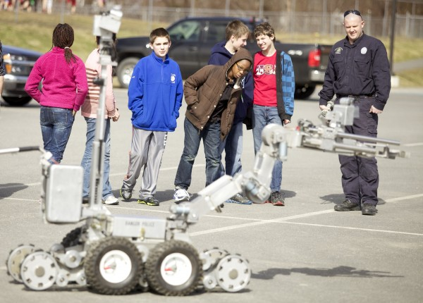 The Bangor Police Department's Bomb Squad demonstrated their bomb robot at the William S. Cohen Middle School in Bangor as part of the school's robotics class Thursday afternoon.
