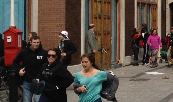 Suspect No. 2, the subject of a manhunt outside Boston, in a white cap in this high-resolution photo.