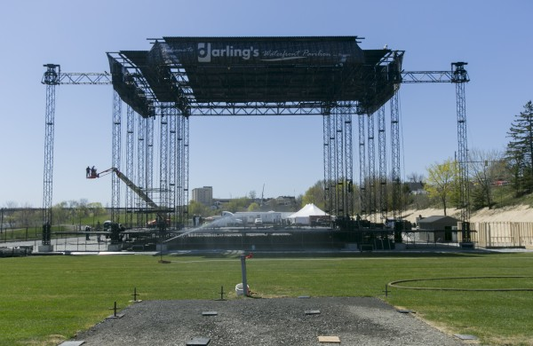 The Darling's waterfront pavilion stage near completion on Monday, May 6, 2013.