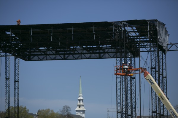 The Darling's waterfront pavilion stage situated in downtown Bangor was near completion on Monday, May 6, 2013.