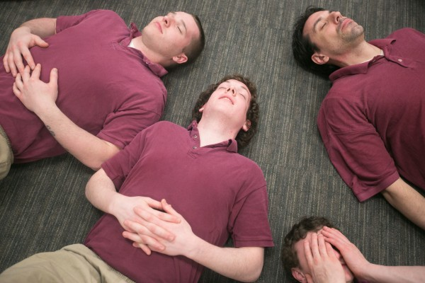 CARA participants, from left to right, Shawn Peaslee, Steven Beaulieu, Dakota Sanford and Stephen Foley are lead through breathing exercises during a meditation class. &quotIf I hadn't come here I'd probably be in a crazy house or even dead,&quot said Beaulieu. &quotWhen I got arrested I had a box cutter in my pocket that I planned on using on myself. I was going to kill myself. This [program] literally saved my life.&quot