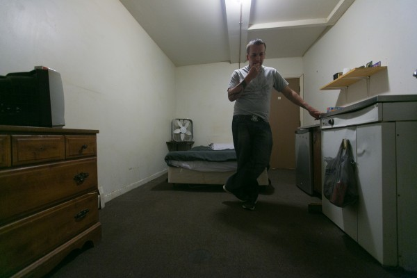 Ralph Mosher surveys his small rented room in Augusta a week after completing the CARA program. &quotI have nothing. I lost my house. I lost my clothes. I lost everything,&quot he said. He will spend the next five weeks participating an outpatient program for CARA graduates living in Kennebec County.
