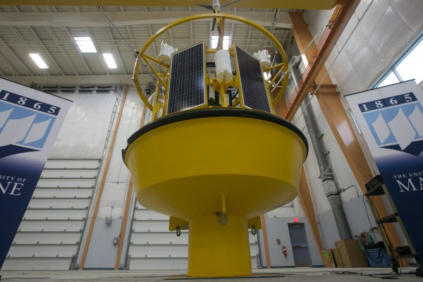 A state-of-the-art wind measuring buoy system was unveiled at the Advanced Structures and Composites Center at the University of Maine on Friday, May 23, 2013. The system uses lasers to test high altitude wind speeds over oceans for wind turbine development. The buoy is powered by onboard solar panels that allow it to work for six months at sea, said Habib Dagher, director of the UMaine Advanced Structures and Composites Center. The buoy will measure wind speeds in the gulf of Maine for the first time.