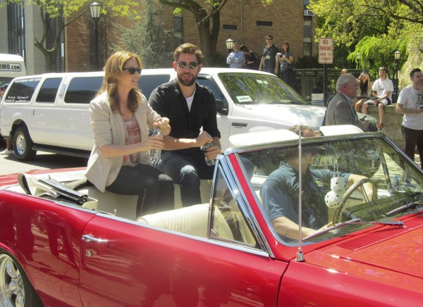 Jenna Fischer (L), and John Krasinski were two of the cast members of the NBC sitcom &quotThe Office&quot that visited Scranton, Pennsylvania, for &quot'The Office' Wrap Party on May 4, 2013.