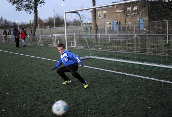 A young player of the soccer club Buitenboys practises at the clubhouse in Almere in late 2012 in Amsterdam.