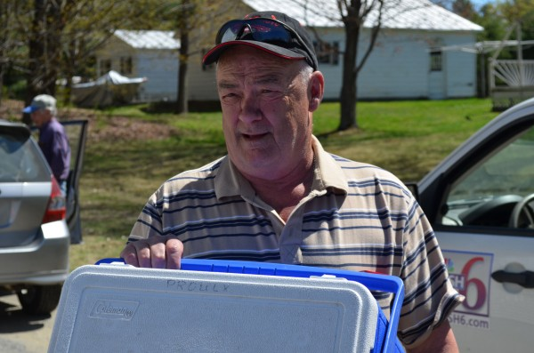 David Proulx of Waterville shows a Coleman cooler he retrieved from Maine State Police evidence on Saturday, May 4 in Skowhegan. The cooler was recovered from the campsite of Christopher Knight in April.
