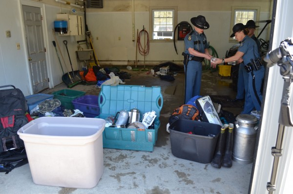 Maine State Police reveal items taken from the Rome campsite of Christopher Knight after about 40 victims were able to reclaim some of their allegedly stolen property on May 4, 2013 in Skowhegan.