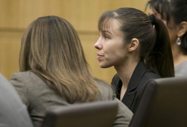 Jodi Arias listens as the verdict for sentencing is read Thursday for her first-degree murder conviction at Maricopa County Superior Court in Phoenix.