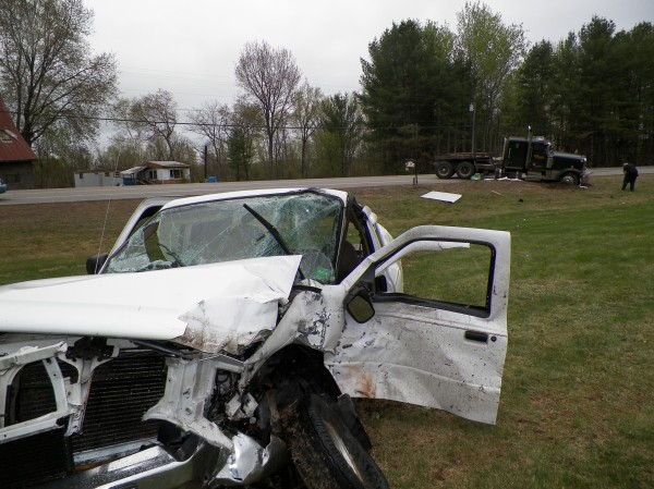 A Ford Ranger pickup truck driven by John Pelletier, 62, of New Sharon, was struck by a tractor-trailer operated by Darrell Spaulding, 42, of Sangerville on Route 2 in New Sharon Thursday.