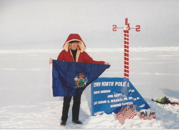 Capt. Richard Spear stands at the North Pole in 1989.