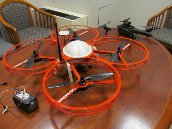 Examples of some of the aerial surveillance are displayed on Tuesday, Feb. 26, 2013, at the State House in Augusta. A bill being debated in Legislature aims to ban such drones.