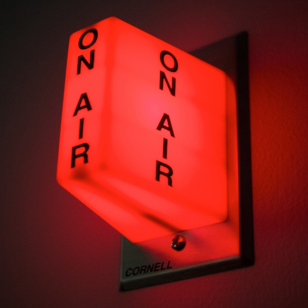 A red light warns that the studio is &quotlive&quot at the Maine Public Broadcasting radio studio in Portland Tuesday.