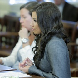 Alexis Wright listens to Justice Nancy Mills during her sentencing hearing at York County Superior Court in Alfred on Friday, May 31, 2013.