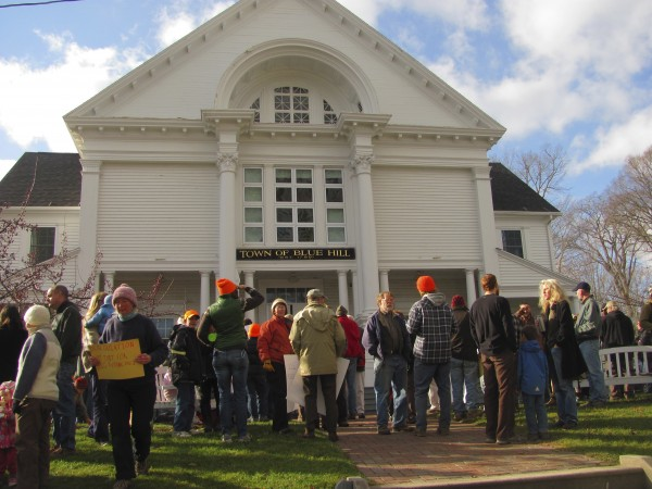 More than 150 people gathered outside of the Blue Hill Town Hall on Friday, Nov. 18, 2011, to show support for Dan Brown, a Blue Hill farmer involved in a legal disagreement with the state. A judge ruled last month that a Blue Hill ordinance does not supersede state requirements for selling raw milk.