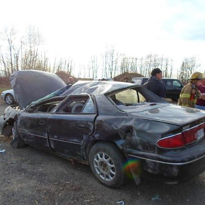 This Buick driven by Grady Anderson, 36, of Houlton lost control on Route 2 in Smyrna Wednesday afternoon.