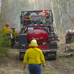 Firefighter crews battle Newburgh wildfire