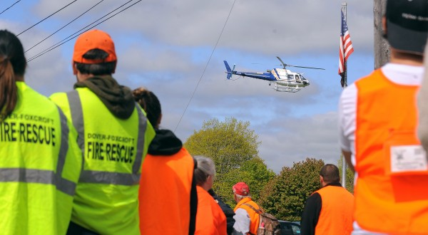 A helicopter takes off on Sunday to search for missing Nichole Cable, 15, of Glenburn.