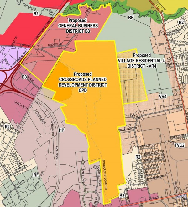 Town Councilors Wednesday gave initial approval to the rezoning depicted here for the area around Scarborough Downs, where developers said they are ready to seek approval for a &quotgaming facility&quot as the centerpiece.