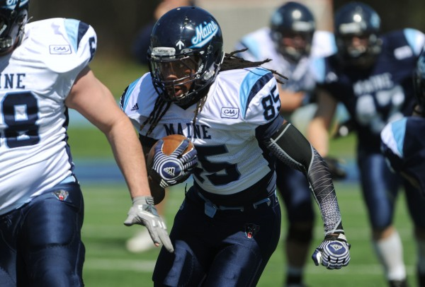 UMaine's Najee Green carries the ball during the Maine Black Bear Football 2013 Jeff Cole Scrimmage on Saturday in Orono.
