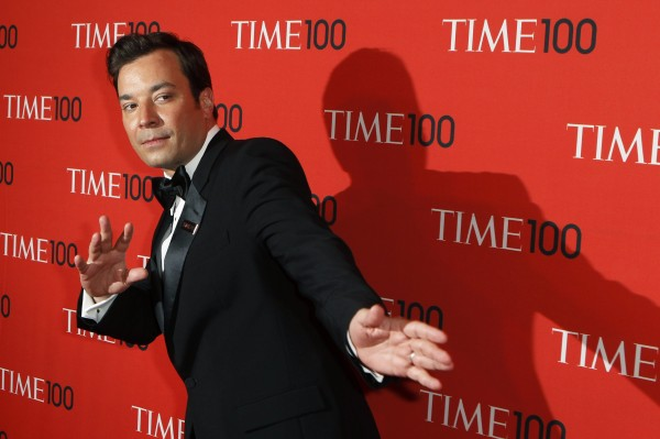 Television host Jimmy Fallon arrives for the Time 100 gala in New York on April 23. NBC has announced that Seth Meyers will succeed Fallon as host of  &quotLate Night.&quot