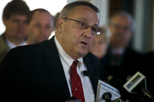 Maine Governor Paul LePage speaks about his plan to repay money owed by the state to hospitals at a press conference in Portland on Jan. 15, 2013.