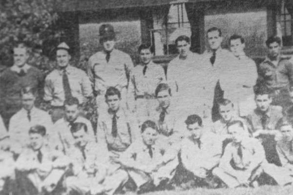 John McLeod of Portland stands in the back row, fourth from the left, in a cropped photo of the 1130th Company of the Civilian Conservation Corps, stationed at the Camden Hills Camp on June 18, 1941, in Camden.