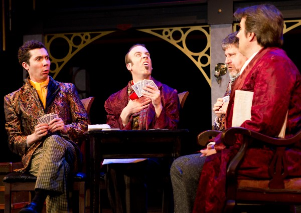 (Left to right) Bradley LaBree, Dominick Varney, Arthur Morison and Robin Bloodworth in &quotAround the World in 80 Days,&quot opening this weekend at Penobscot Theatre Company.