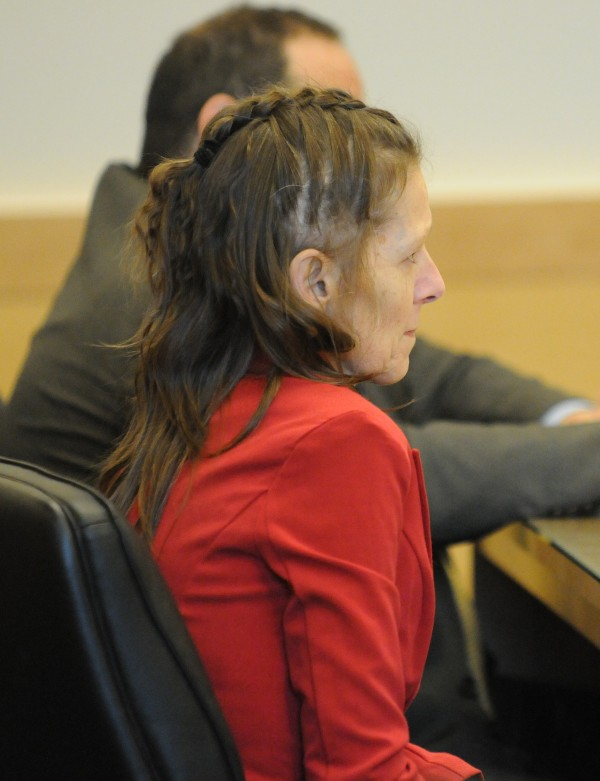 Roxanne Jeskey sits in court in April during the closing argument of her competency hearing at the Penobscot Judicial Center.