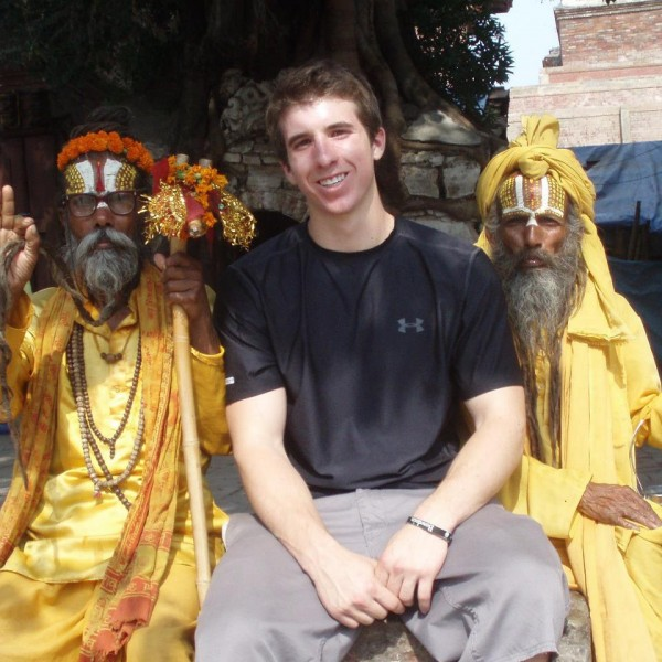 Bangor High School graduate and Bowdoin College student Lonnie Hackett sits with Nepalese faith healers during a summer 2012 trip to Nepal to educate villagers about modern medicine and encourage use of medical clinics. Hackett received a prestigious Truman Scholarship for his work in Africa and Nepal during his time at Bowdoin.