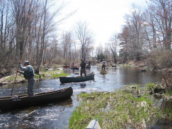Participants in a canoe poling clinic practice their new skills.