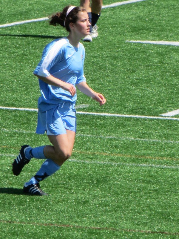 Casey McGuire plays outside defender for Seacoast United Blackbear of Bangor in a State Cup game at Falmouth on May 5, 2013.